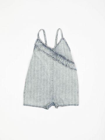 אוברול ג'ינס קצר בעיטור מלמלה / בייבי בנות