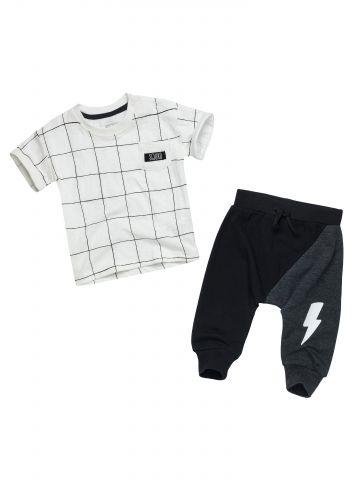סט טי שירט משבצות ומכנסיים עם הדפס ברק / בייבי בנים