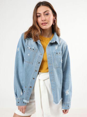 ג'קט ג'ינס עם עיטורי איבקות וכפתורי תיק תק