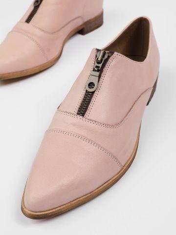 נעלי עור אוקספורד עם רוכסן / נשים
