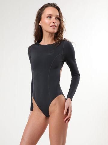 בגד ים שלם דו צדדי עם פתח בגב