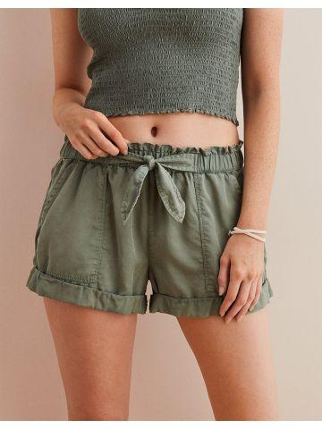 מכנסי פייפרבאג קצרים עם קשירה בחזית