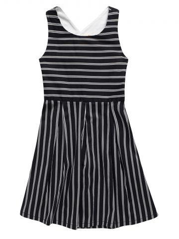 שמלה בהדפס פסים עם כתפיות מצטלבות / בנות