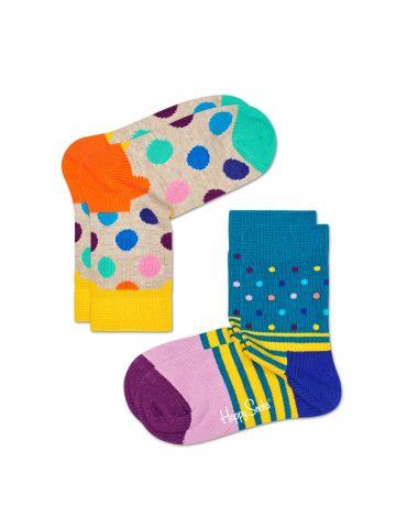 מארז 2 זוגות גרביים גבוהים בהדפס נקודות מולטי קולור / בייבי בנים
