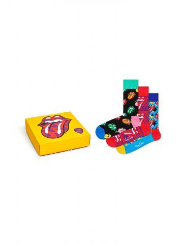 מארז 3 זוגות גרביים גבוהים בהדפסי Rolling Stones / גברים