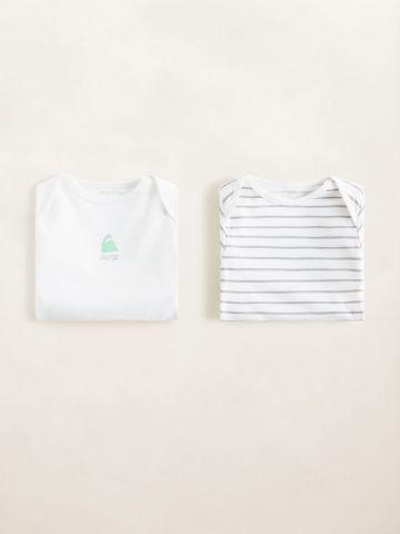 מארז 2 בגדי גוף בהדפס פסים / בייבי בנים