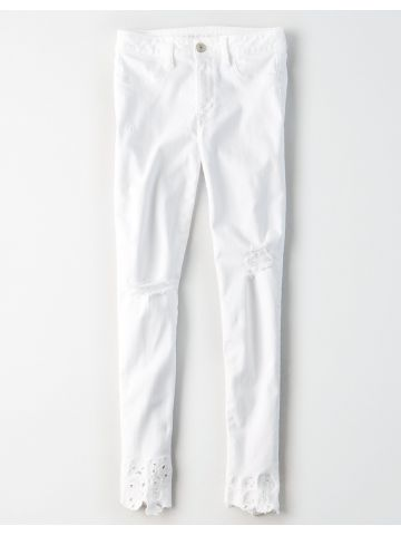 ג'ינס סקיני עם קרעים וסיומת תחרה High Rise Jegging / נשים