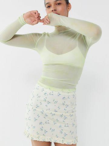 חצאית מיני מלמלה בהדפס פרחים UO