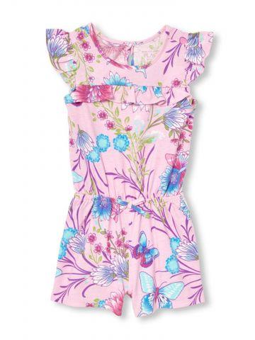 אוברול מלמלה קצר בהדפס פרחים / בייבי בנות