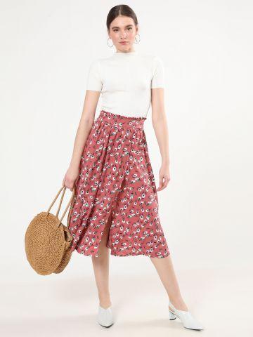 חצאית מידי בהדפס פרחים עם שסע