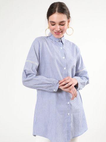 חולצה מכופתרת פסים עם עיטורי רקמה בשרוולים