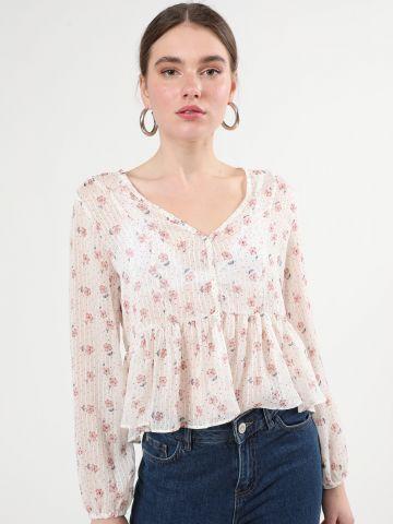 חולצת מלמלה בהדפס נקודות ופרחים