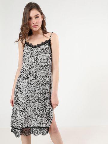 שמלת מידי מנומרת עם עיטורי תחרה