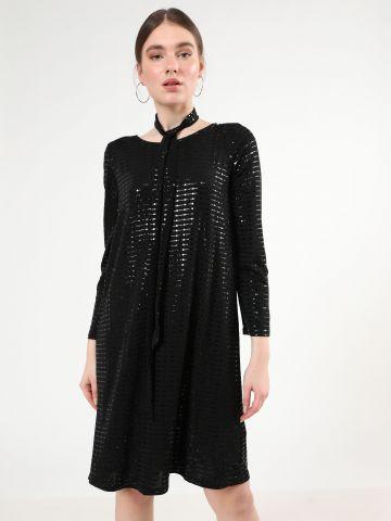 שמלת פאייטים מידי עם שרוולים ארוכים