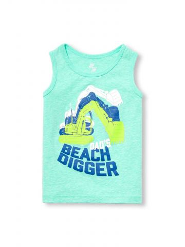 גופיית עם הדפס טרקטור Dad's Beach Digger / בייבי בנים