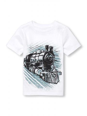 טי שירט עם הדפס רכבת / בייבי בנים