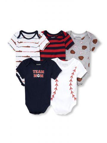מארז 5 בגדי גוף בהדפס בייסבול / בייבי בנים