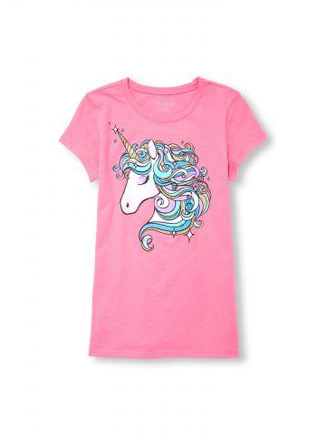 חולצת טי שירט עם הדפס unicorn / בנות