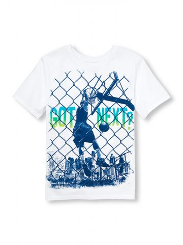 חולצת טי שירט בהדפס כדורסל / בנים