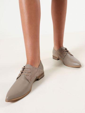 נעלי אוקספורד מעור עם שרוכים / נשים