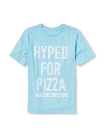 טי שירט עם הדפס כיתוב Pizza / בנים