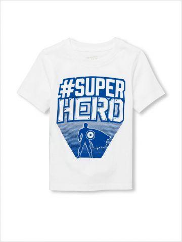 טי שירט עם הדפס #SUPERHERO / בייבי בנים