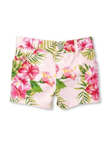 מכנסיים קצרים בהדפס טרופי / בייבי בנות