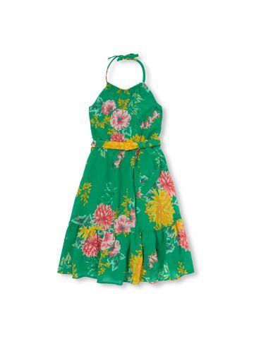שמלה פרחונית עם צווארון קולר קשירה / בנות