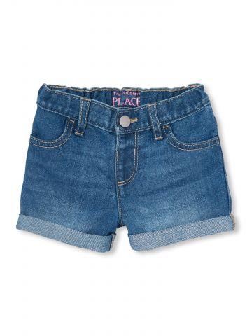 ג'ינס קצר עם גומי מותן / בייבי בנות