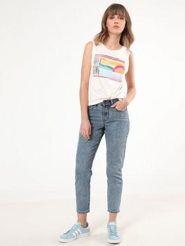 ג'ינס MOM ווש בגזרה גבוהה