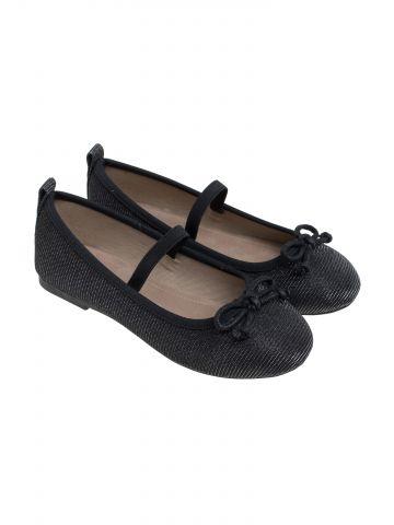 נעלי בובה מבריקות בעיטור פפיון עם גומי / בנות