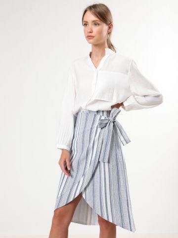 חצאית פסים בסגנון מעטפת