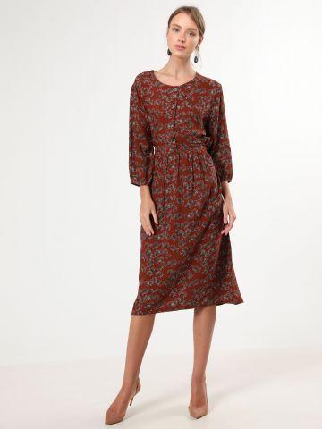 שמלת מידי בהדפס עלים