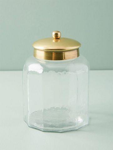 צנצנת זכוכית לאחסון עם מכסה מוזהב / קטן