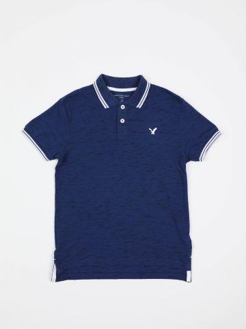 חולצת פולו מלאנז' עם רקמת לוגו / בנים