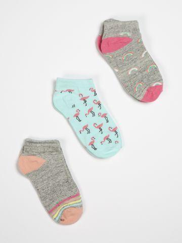 מארז 3 זוגות גרביים נמוכים בדפוסים שונים / בנות