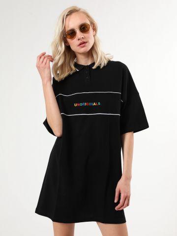 שמלת פולו מיני עם רקמה צבעונית Unoriginals
