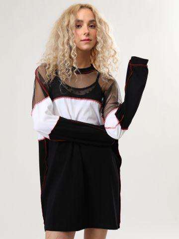 שמלת מיני קולור בלוק בשילוב רשת