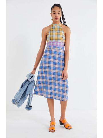 שמלת קולר מידי מולטי פרינט UO