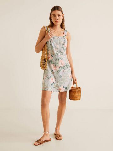 שמלת מיני פשתן בהדפס פרחים עם כפתורים