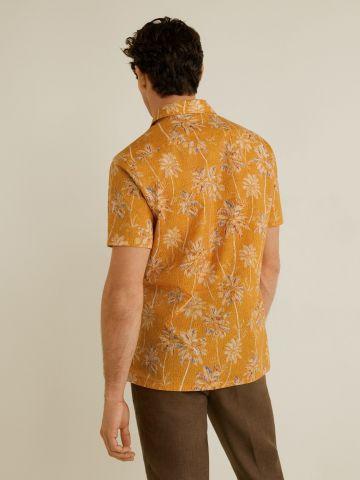 חולצה מכופתרת דקלים עם שרוולים קצרים