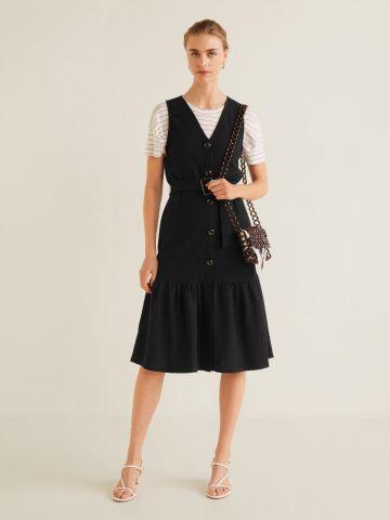 שמלת מידי פפלום עם חגורת מותן