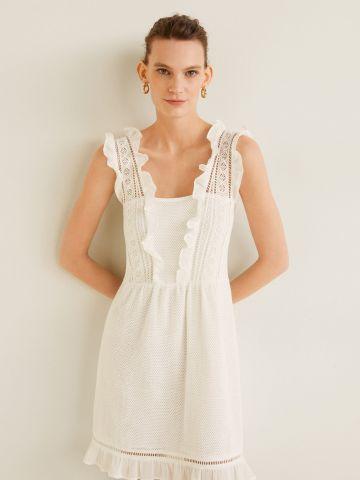 שמלת מיני עם עיטורי תחרה וסיומת מלמלה