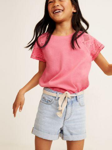 ג'ינס קצר עם חגורת קשירה / בנות