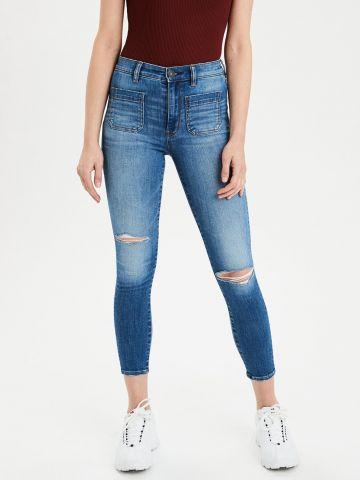 ג'ינס סקיני קרופ בגזרה גבוהה Ne(X)t Level Stretch