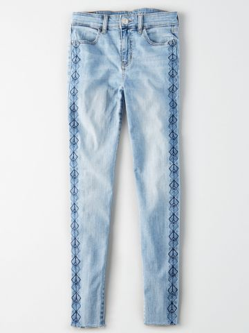 ג'ינס עם עיטורי מעוינים מרקמה Super High Jegging