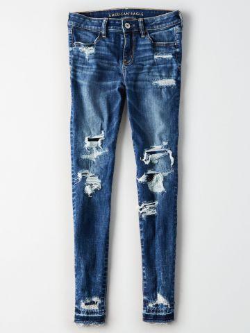 ג'ינס עם עיטורי קרעים Jegging