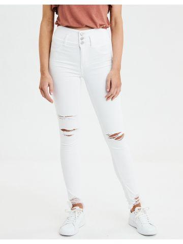 ג'ינס בגזרה גבוהה עם קרעים High Rise Jegging