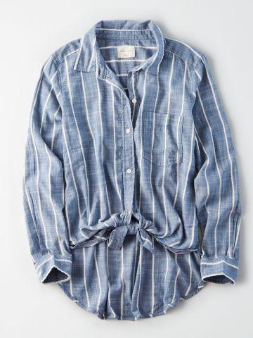 חולצה מכופתרת בהדפס פסים עם קשירה בחזית