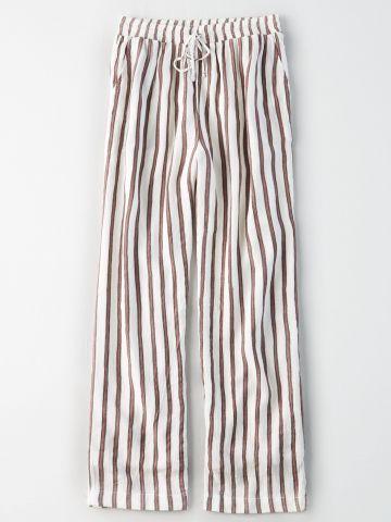 מכנסי קרפ ארוכים בהדפס פסים / נשים